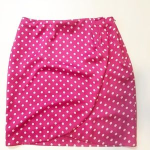 chaus pink and white polka dot front wrap skirt